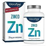 Integratore Zinco 25 mg, 400 Compresse Vegan contro Acne e Brufoli, Scorta 1 Anno +, Antiossidante per Pelle Sana, Zinco Elementare per Capsula da Puro Zinco Gluconato, Clinicamente Testato