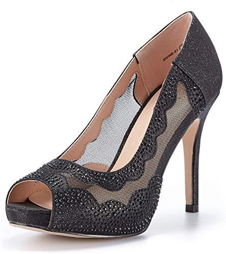 DREAM PAIRS Women's Divine-01 Black High Heel Pump Shoes - 5.5 M US