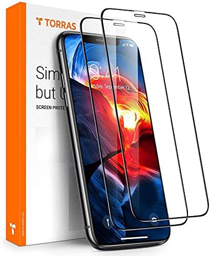 TORRAS Militärschutz iPhone 11 Pro Panzerglas /iPhone X/XS Panzerglas Full Screen (9H Festigkeit + Frontkamera-Schutz), Kratzfest Blasenfrei Schutzglas HD Glas 3D Bildschirmschutz mit Schablone (2 Stücke)