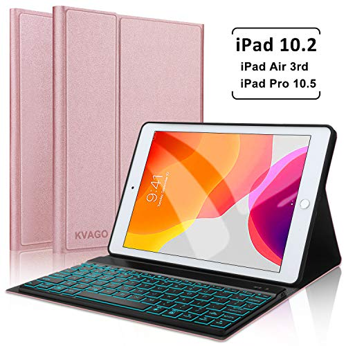 iPad 7th Generation 10.2 inch 2019 / iPad Air 3 10.5 inch/iPad Pro 10.5 inch Keyboard Case, Slim Fit Case with Magnetically Detachable Wireless Backlit Keyboard -Rose Gold