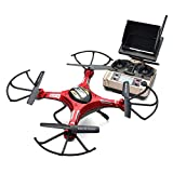 Ruhiku GW JJRC H8D 5.8G RC FPV Quadcopter Headless Mode/One Key Return RTF Drone with 2.0MP Camera FPV Monitor LCD + 2PC Motor