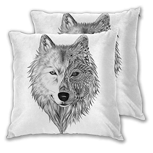 RHYS DOBSON Square Pillowcases,Wolf Head 2 Pack Decorative Cushion Cases Pillow Covers for Sofa Bedroom Car 16'x16'