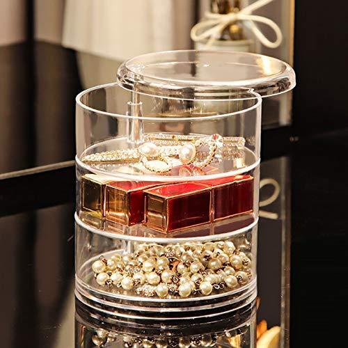 Caja organizadora de joyas con rotación de 360 °, transparente, redonda y de almacenamiento para joyas, collar, pulsera, anillo, pendiente y bandeja de visualización (color: 3F)