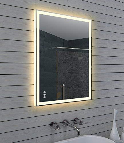 Lux-aqua Design Badezimmerspiegel mit Dimmer, Warm und Kaltweiß und Touchschalter 80 x 60 cm