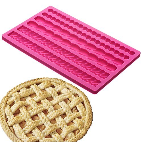 Palksky Pie Crust Impression Mat/Fondant Molds Silicone Mold Cake Decoration Molds for Chocolate Fondant Sugarcraft Pastry Cupcake Toppers