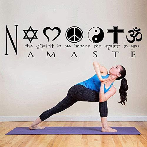 Namaste Yoga Quote Logo Hindu Spirit Etiqueta de la pared Gym Yoga Hindu Logo Cita inspiradora Etiqueta de la pared Decoración de vinilo 24x100cm