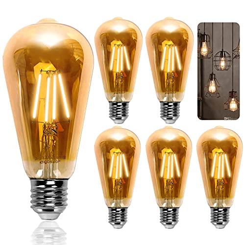 Aigostar ST64 - Lampadina stile vintage Edison, Lampadina LED E27 da 8W (equivalente a 60W),Lampadina a filamento LED bianco caldo (2200K), 800 Lumens,Non dimmerabile, Confezione da 5 unità