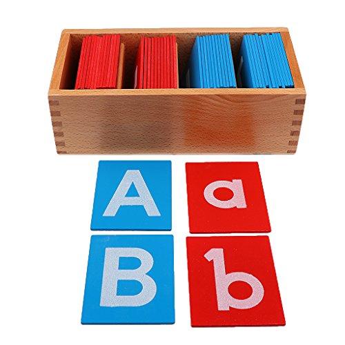 IPOTCH Placa de Madera Montessori Alfabeto en Minúsculas Mayúsculas Educación Elemental para Niños