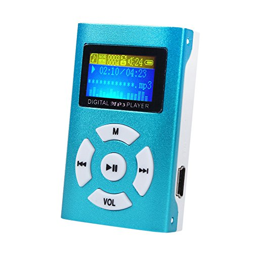 SamMoSon Mini lettore MP3 USB Supporto schermo LCD Scheda Micro SD Micro SD da 32 GB - Lettore musicale MP3 | Display: Mini schermo LCD Jack per cuffie: Jack stereo blu da 3,5 mm