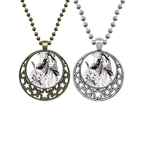 Collares con colgante de diseño de Sakura de Japón con diseño retro de luna y estrellas