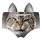 Women's Flirty Sexy Funny Naughty 3D Printed Animal Underwears Briefs Gifts With Cute Ears (EDNK017-L)