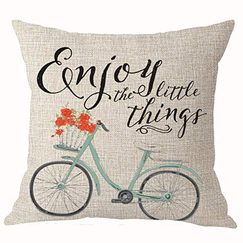Summerr Enjoy The Little Things Bicycle Best Throw Pillow Cover Cushion Case Cotton Linen Home Office Decoration Square 18X18 Inch