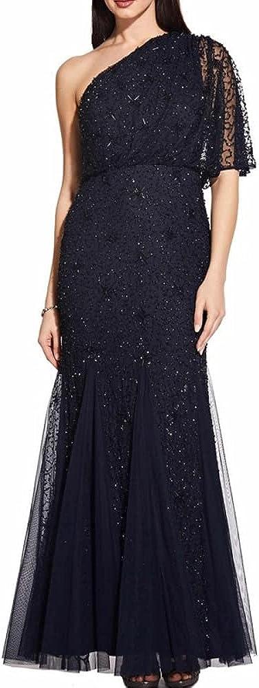 Adrianna Papell Women's Petite Starburst Beaded One Shoulder Dress, Midnight/Black, 16