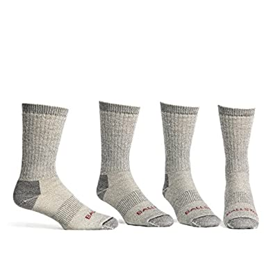 Ballston Unisex Lightweight All Season 81% Merino Wool Hiking Socks - 4 Pairs (XL (Fits Men's Shoe 12-15), Lunar Gray)