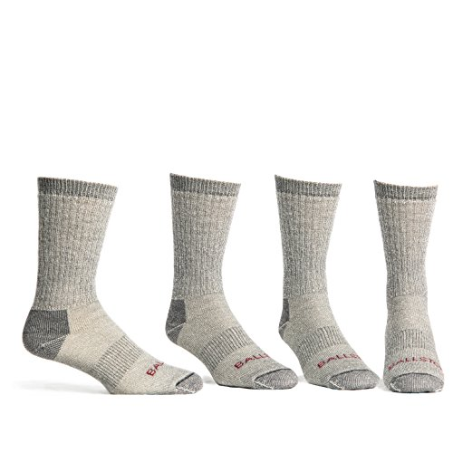 Price comparison product image Ballston Lightweight 81% Merino Wool Crew Hiking Socks - 4 Pairs for Men and Women(Lunar Gray,  L (Fits Men's Shoe 9-12,  Women's 10-12))