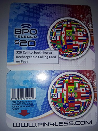 $20 Call to South Korea Rechargeable International Calling Card No Fees