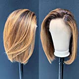 Ombre Color 4/27 Lace Front Wigs Human Hair For Women Short Bob 13x6 Deep Part Lace Front Human Hair Wigs Pre Plucked Density 150% (12inch)