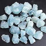 YSJJAXR Piedra de Cristal Natural Natural Azul áspero fichas de Aguamarina Crudo triturado Piedra curación espécimen joyería de Cristal Mineral Haciendo decoración del hogar Acuario