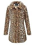Giolshon Estampado de Leopardo del Abrigo de Piel sintética de Las Mujeres, Invierno Mullido de Outwear Caliente M