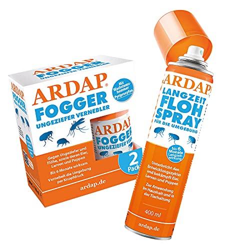 ARDAP Langzeit Flohspray 400ml + ARDAP Fogger 2x100ml - Zur Anwendung im Haushault und in der Tierhaltung - Bekämpft Eier, Larven und Puppen - Wirksamer Schutz für bis zu 6 Monate