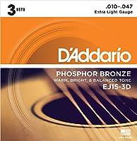 D'Addario EJ15-3D アコースティックギター弦/3セットパック×2SET