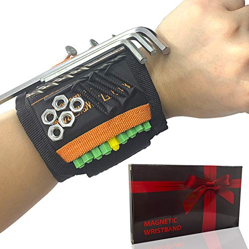 Magnetic Wristband, Perfect Stocking Stuffer Gifts for Men, Tool Belt with 15 Powerful Magnets for Holding Screws Nails Drill Bits, Unique Men Gifts Gadgets for Father/Dad, Husband, Him, DIY Handyman