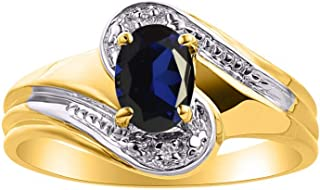 Diamond & Sapphire Ring Set in 14K Yellow Gold