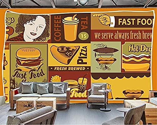 XHXI Murales de pared Personalizar cualquier tamaño Papel tapiz 3D Pizza europea Tienda de postres Fondo de gr Pared Pintado Papel tapiz Decoración dormitorio Fotomural sala sofá mural-300cm×210cm
