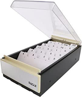 Eagle Business Card Holder Storage up to 600 Cards Box Size: 4 1/4 x 8 1/4 x 2 1/2 Metal/Plastic (Black/Clear)