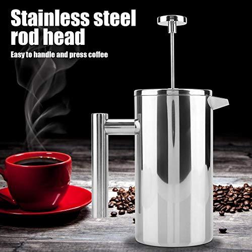 Jingyi Robuste doppelwandige Kaffeekanne aus Edelstahl, Silberne Teekanne, für Coffee Shop for Home(1000ML)