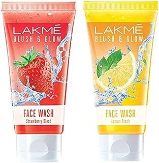 Lakmé Blush and Glow Strawberry Gel Face Wash, 100g & Lakmé Blush and Glow Lemon Fresh Facewash, 100g