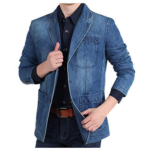 KPILP Herren Jeans-Jacke Vintage Sweatjacke Denim Anzugjacken Blazer Freizeitjacke Jeanssakko Übergangs-Jacke Men Cowboy Suit Jacket Coats