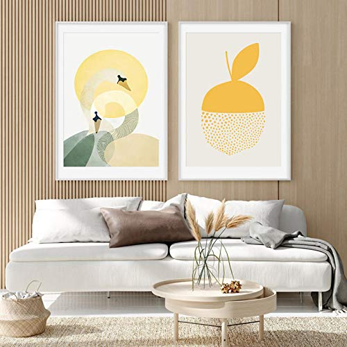 KELEQI Impresión de Lienzo de Moda Gráfico geométrico Abstracto Fruta Amarilla Póster Pinturas Arte de la Pared Imágenes Sala de Estar Decoración del hogar (75x100cm) X2 Sin Marco