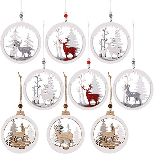 WILLBOND 9 Pieces Christmas Hanging Wooden Ornament Hollow Fretwork Wood Carving Ornaments Circle Bauble Glitter Reindeer Ornaments for Christmas Festival Hanging Decoration, 2 Sizes and 6 Styles
