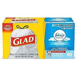 Glad Tall Kitchen Drawstring Trash Bags - OdorShield 13 Gallon Grey Trash Bag, Febreze Fresh Clean -
