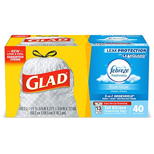 Glad Tall Kitchen Drawstring Trash Bags - OdorShield 13 Gallon Grey Trash Bag, Febreze Fresh Clean - 40 Count Each