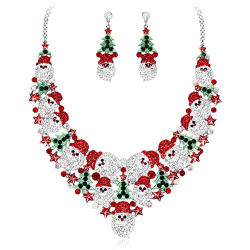 Elegant Santa Claus Necklace Earrings Bridal Jewelry Set Silver Plated Bride Wedding Costume Accessories Gifts for Women (Style 3)