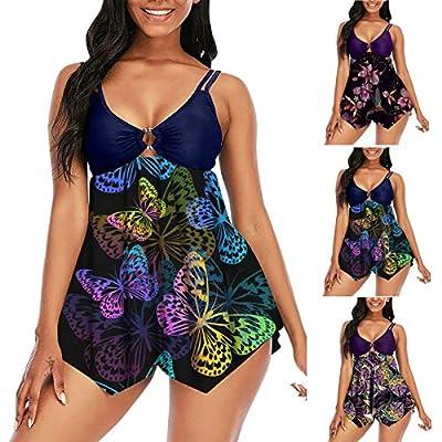 Dreamyth-Summer Swimsuit for Women 2 Piece Tummy Control Bathing Suits Plus Size Swimdress Tankini Bikini with Shorts