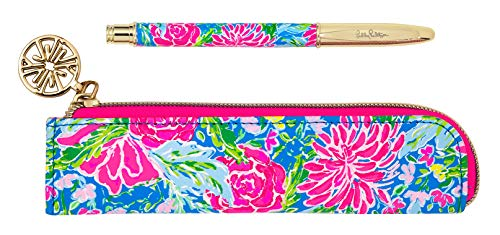 Lilly Pulitzer Black Ink Metal Ballpoint Pen with Leatherette Storage Zip Pouch, Bunny Business
