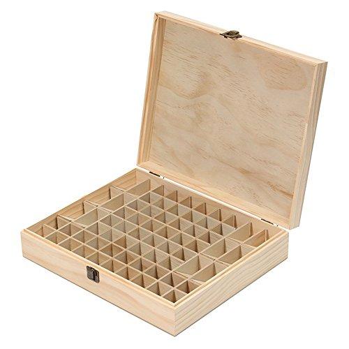 LEAMALLS 68 Löcher Ätherische Öl Box Öle Aromatherapie Aufbewahrungsbox Holzkoffer Fächer, Duftöle Ätherisches Stain Lippenstift Nagellack