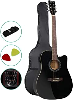 41 Inch Electric Acoustic Guitar Wooden Folk Classical D Shape Full Size Cutaway Black Strings Carry Bag Shoulder Strap Picks ALPHA