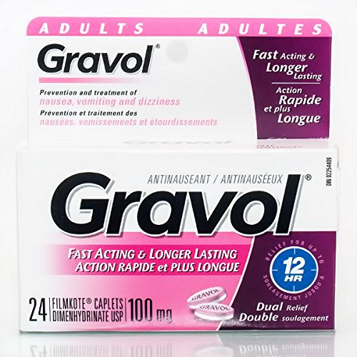 Gravol Immediate & Long-Acting 100mg Dual Relief for Nausea, Dizziness, Vomiting, 24 Caplets