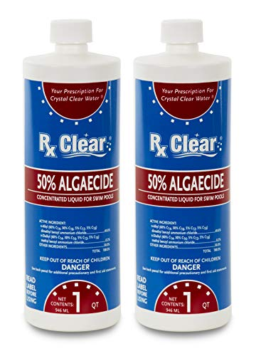 Rx Clear Algaecide 50 Plus | 50 Percent Concentrated Liquid Algaecide for Above or In-Ground Swimming Pools | Safe Non-Foaming Formula | Keeps Algae in Suspension | One Quart Bottles | 2 Pack