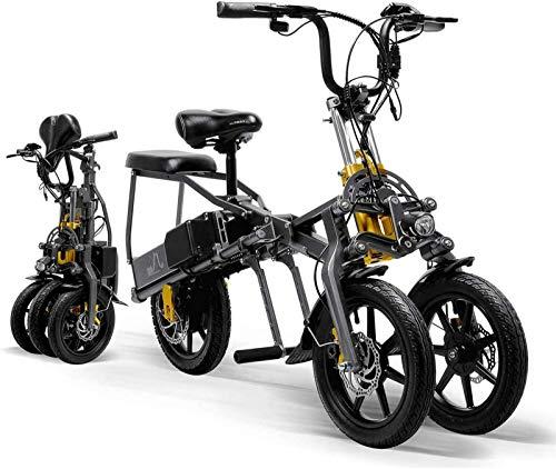cinta de correr plegable,Triciclo eléctrico para adulto Mini scooter eléctrico plegable de tres ruedas para bicicleta de montaña hasta 30 km 25 km/h Batería de litio Tres modos de velocidad Ruedas gra