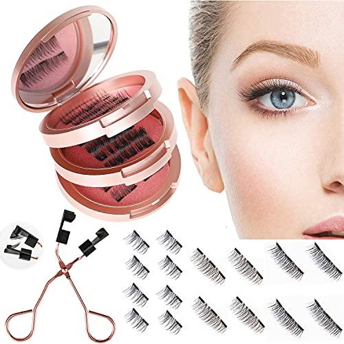 Magnetische Wimpern 3D Künstliche Wimpern Set, Wiederverwendbare Dual Magnetic False Eyelashes mit Hilfspinzette + Aufbewahrungskiste, Falsche Wimpern Natürlich Look