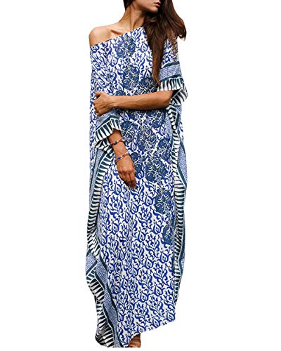 Hoperay Women Bikini Cover Ups for Bathing Suit Half Sleeve Round Neck Ethnic Print Turkish Kaftans Long Robe Beachwear Beach Caftans Dress