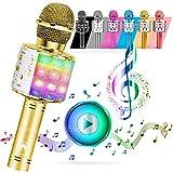 ATLAS Micrófono Karaoke, inalámbrico Bluetooth USB LED Flash Micrófono portátil para promoción regalo Altavoz inalámbrico para fiestas familiares, también para que los niños jueguen (Oro)