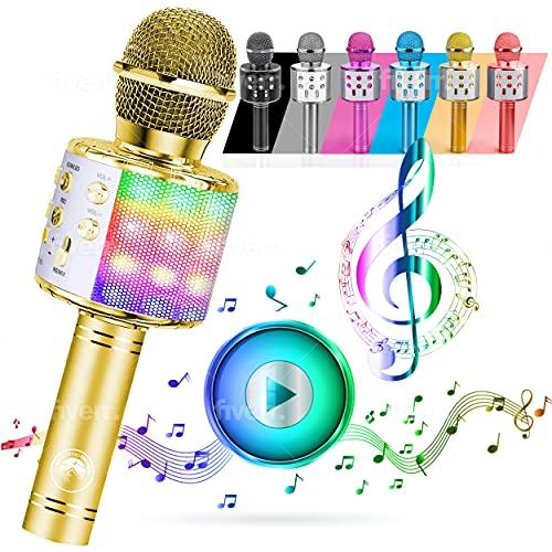 ATLAS Microfono Karaoke, Wireless Bluetooth USB LED Flash Microfono Portatile per promozione regalo Altoparlante wireless per feste famiglia, Anche per far giocare i bambini, microfono bambini. (ORO)