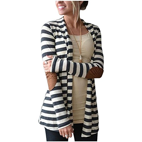 Vnice Damen Striped Langarmshirt Strickjacke Kimono Cardigan Cover Up Patchwork Outwear