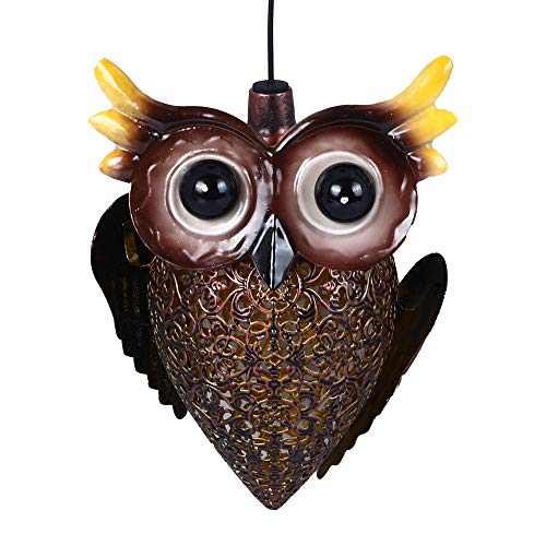 TreeLeaff Solar Decorative Lights, Outdoor LED Owl Wind Chime Garden Light, Waterproof Wrought Iron Hollow Lighting Decorative Light for Garden Lawn Patio Pathway Courtyard